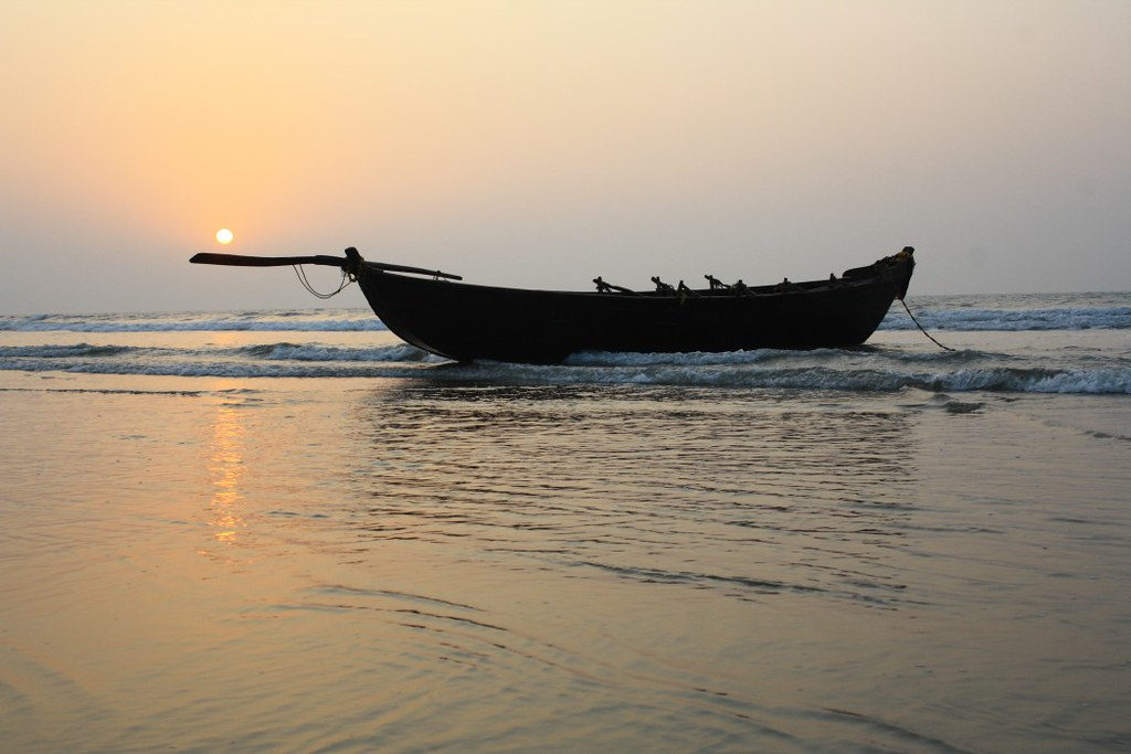 Fishing Boat during Sunrise at Digha Sea Beach - West Bengal, India