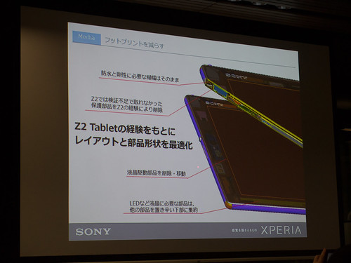 Xperia アンバサダー ミーティング スライド : Xperia Z4 Tablet では、Z2 Tablet の経験を活かして更なるコンパクト化を実現!