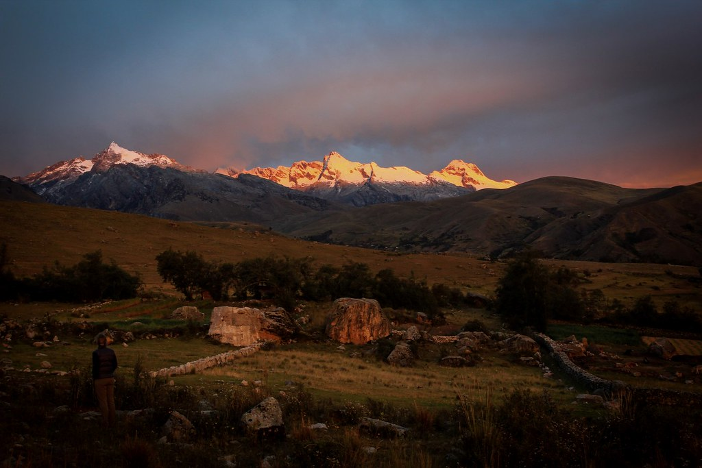 Sun sets over the southern summits of the Cordillera Blanca. Ancash, Peru.