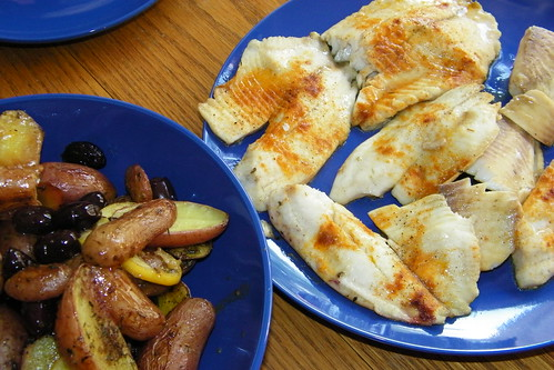 Roasted Tilapia with Olives and Potatoes
