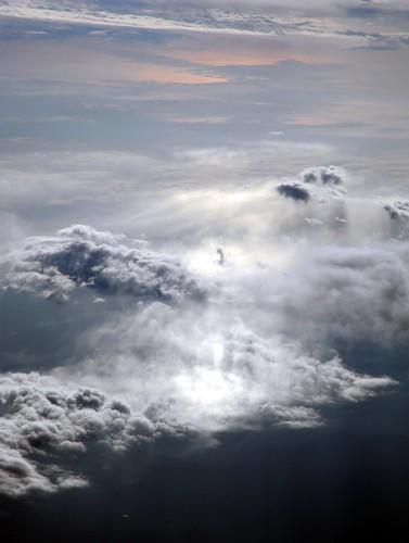Clouds, rain, sun, over Oregon, spectacular Alaska Airlines flight, USA by Wonderlane