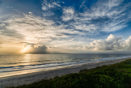 ocean blue sunset sky usa cloud storm color green beach water weather landscape day unitedstates florida shore features melbournebeach hdr indialantic