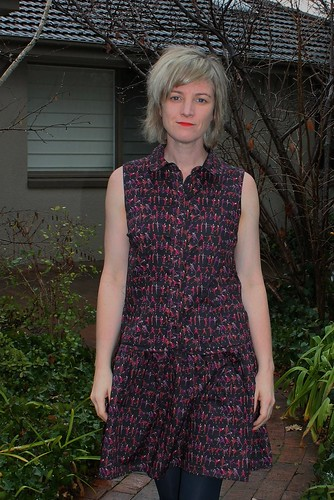 Drop waist shirt dress by Pattern Runway in Tiny Dancer Liberty fabric