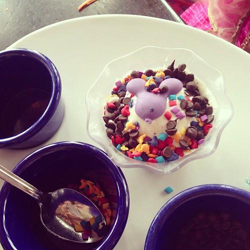 Auttie got to decorate her own ice cream at Cinderella's Round Table.