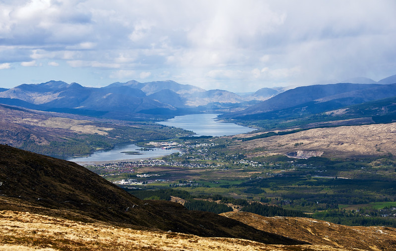 The view of Fort William from Aonach Mor Scotland UK by Margaret Bourne