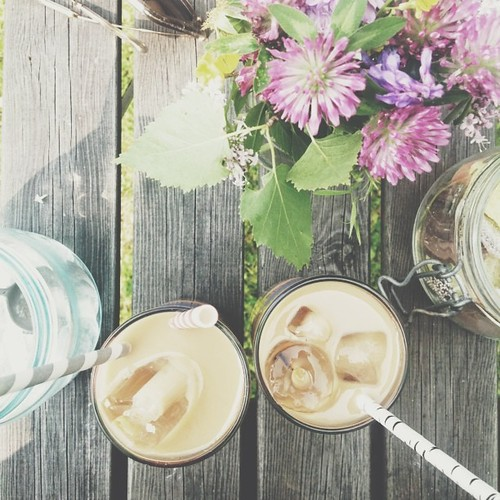 today is: home made ice coffee in the sun!