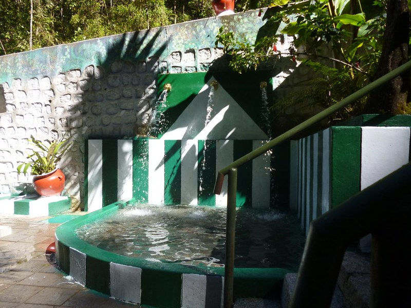 Cold water shower at Aguas Calientes hot springs