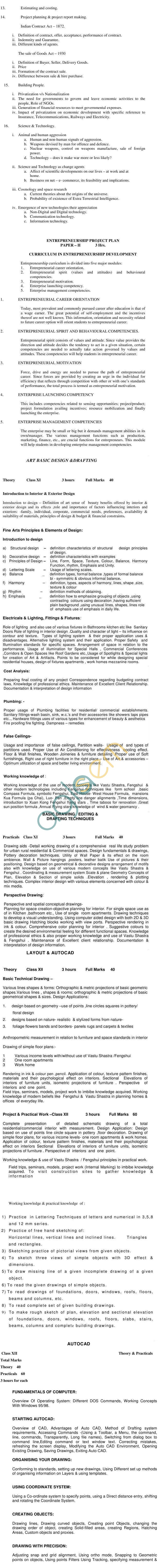 ICSCE CVE-12 Interior Design Syllabus 2014
