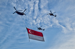 Singapore NDP Preview Helicopters with Singapore flag