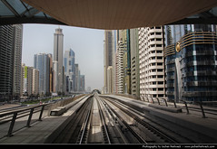 View along SZR from Financial Centre Metro Station, Dubai, United Arab Emirates