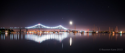 Jupiter and the Moon Rise over Newport-1 by Royston_Kane