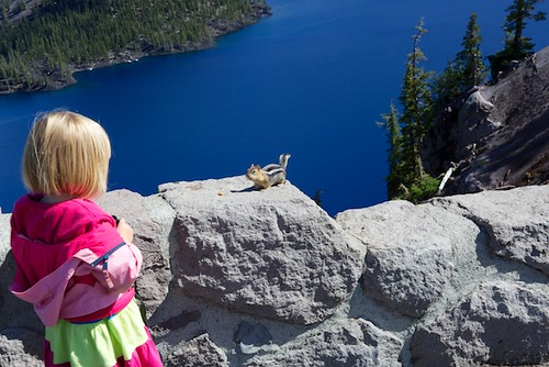 Baby Talking to a Squirrel at Crater Lake