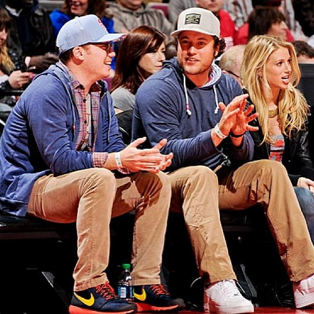 Matthew Stafford sitting courtside in Sportiqe Apparel