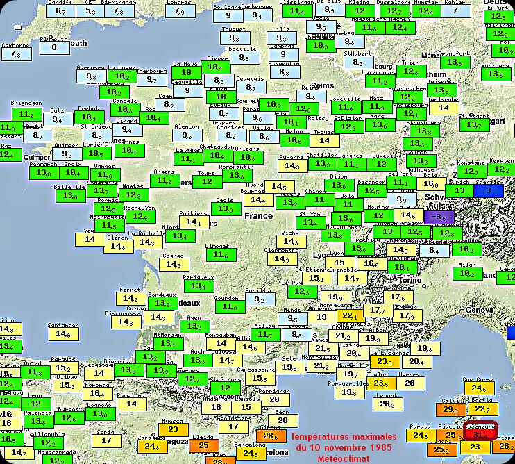 températures maximales et record mensuel absolu de chaleur à Solenzara le 10 novembre 1985 météopassion