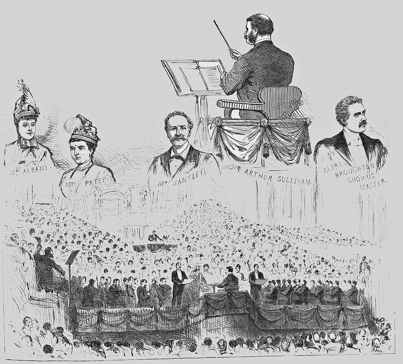 Arthur Sullivan conducting his oratorio ''The Golden Legend'' at the Leeds Festival, 1886. Image printed in, and scanned and cropped from, ''Illustrated London News'', 23 ~October 1886, p. 421.