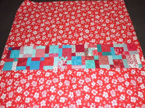 Red/Aqua Swap Quilt Back
