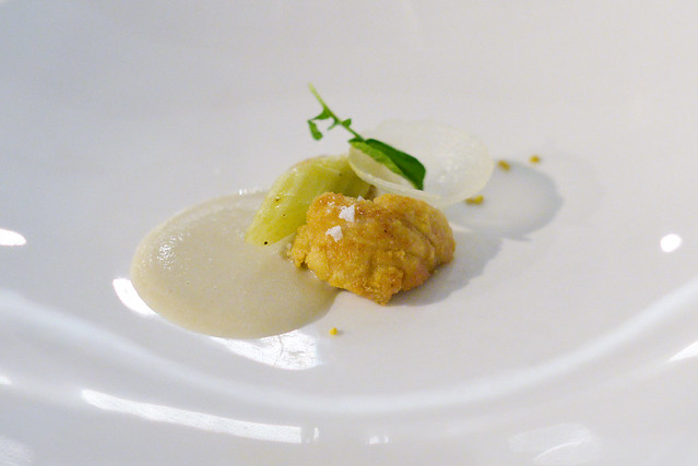 sweetbreads poached in beeswax, hearts of palm, cardoon, pear, truffle, chestnut cream