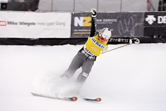 Marielle Thompson celebrates a golden run in Nakiska, CAN