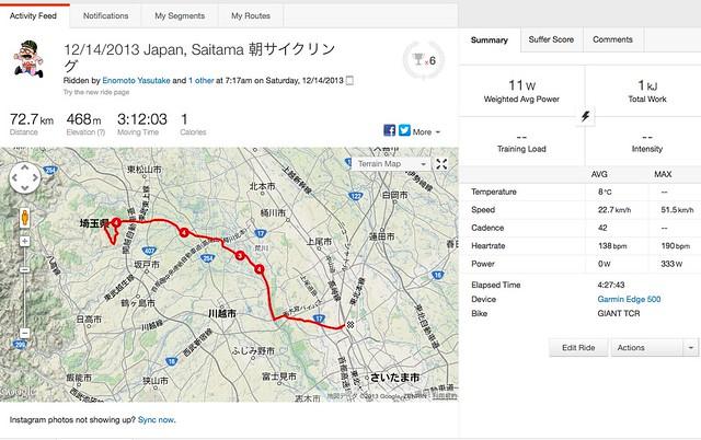 先日の朝サイクリング