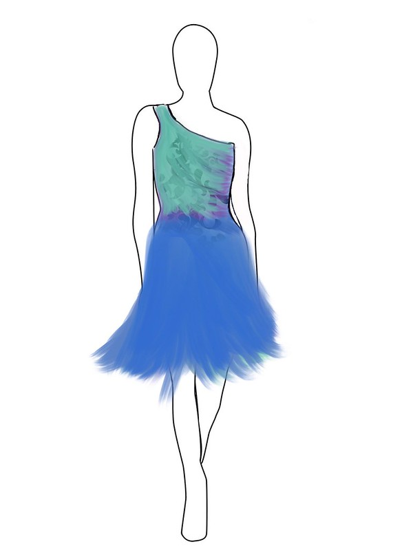 Aqua Blue Furry Dress