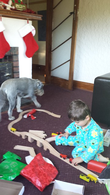 Eskil playing with trains
