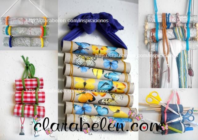 organizador multiusos con tubos de cartón
