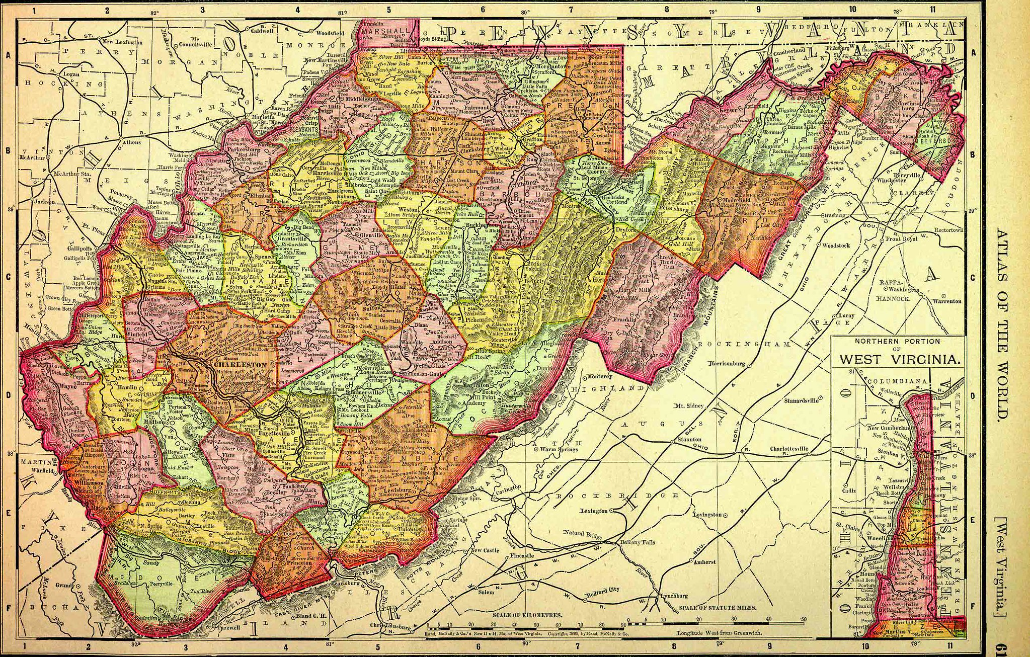 Map Of Virginia And West Virginia Together.West Virginia Map 1895 Traveling 219 The Seneca Trail