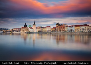 Czech Republic - Prague - Praha - Lavka, Charles bridges - Karluv Most and Vltava River at Sunset