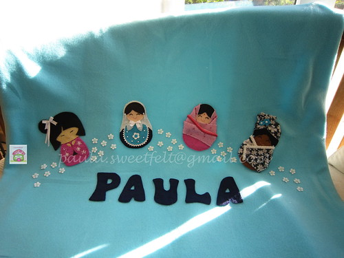 """♥♥♥ Mais uma mantinha quentinha, desta vez para a Paula que é a"""" mais que tudo"""" do Paulo da mantinha anterior! by sweetfelt \ ideias em feltro"""