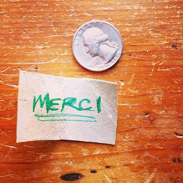Day 8: tiny merci card!