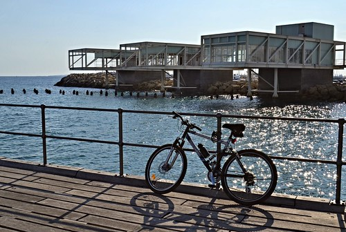 winter shadow sun bike bicycle pier bluesky february limassol molos buildingsandarchitecture woodenpier cypruspictures projectweather cyprusweather thulbornchapmanphotography