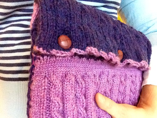 Cable knit iPad case lined with neoprene