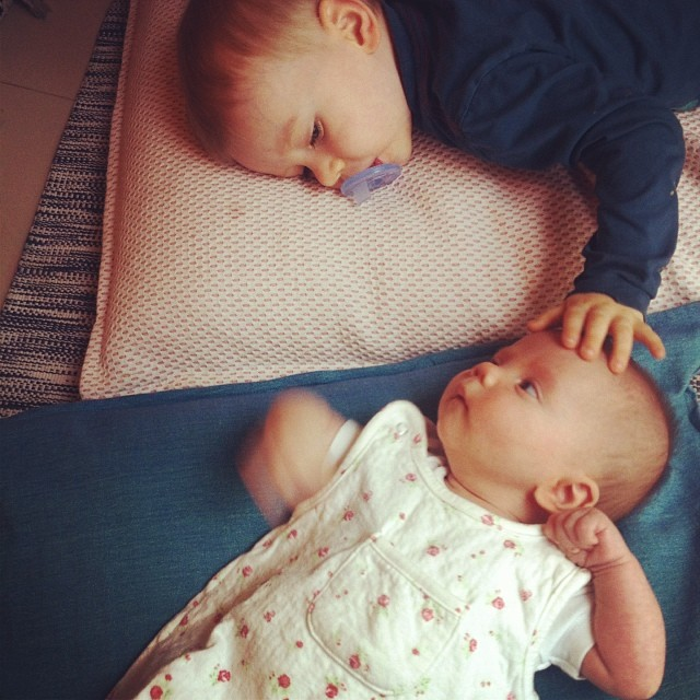 "Not captured: the moment when he reached over, gently touched her closed fist to his own and said ""fist bump Shiloh!"" #bigbrother #babysister #likefatherlikeson"