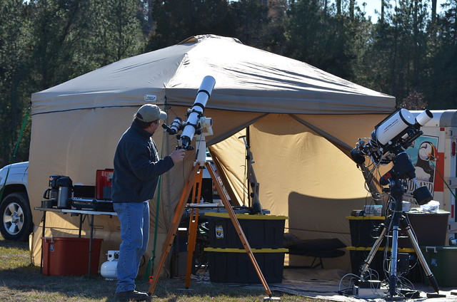 Setting up for the Staunton River Star Party in this photo by participant Pete Kubaco.
