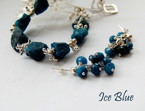 Ice Blue Bracelet and Earrings by gemwaithnia