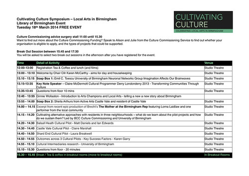 Cultivating Culture Symposium Timetable