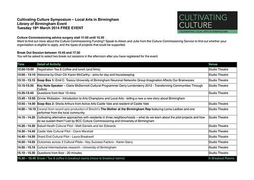 Cultivating Culture Symposium Timetable