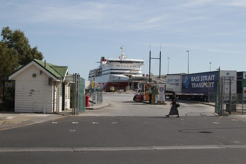 Entrance to the Spirit of Tasmania freight yard at Station Pier