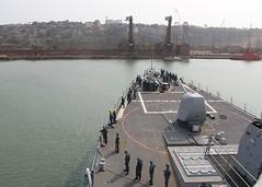 Sailors aboard USS O'Kane (DDG 77) prepare to moor in Goa, April 4. (U.S. Navy/FC1 Shod Williams)