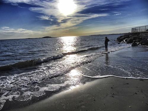 usa beach strand meer sonnenuntergang connecticut newengland longislandsound abendstimmung westbrook