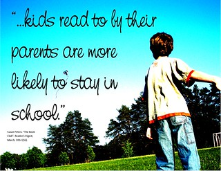 "Educational Postcard:  ""...kids read to by their parents are more likely to stay in school."""