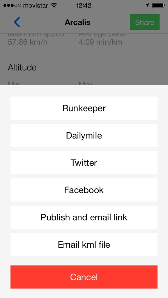 Kinetic sharing to Facebook, Dailymile or by email