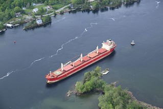 The freighter Federal Kivalina, a 656-foot Hong Kong-flagged vessel, sits at anchor and aground in the St. Lawrence Seaway, May 28, 2014. The Federal Kivalina lost power and ran aground near the Thousand Island Bridge May 27, which has suspended vessel traffic in the St. Lawrence Seaway for several days. U.S. Coast Guard photo courtesy of Robert Fratangelo, Coast Guard Auxiliary