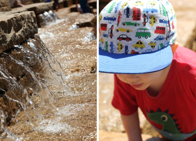 water and hat collage