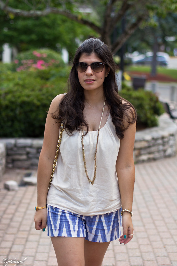 ikat print shorts, cream tank, jeweled sandals.jpg