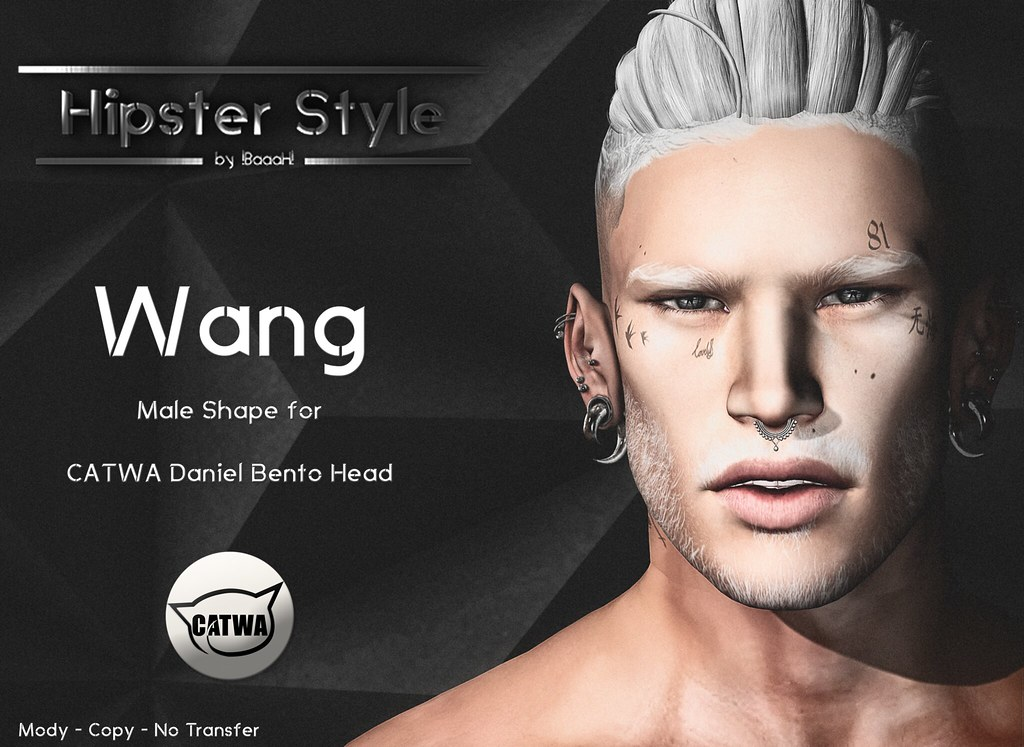 [Hipster Style] Wang Male Shape for CATWA Daniel Bento Head - SecondLifeHub.com