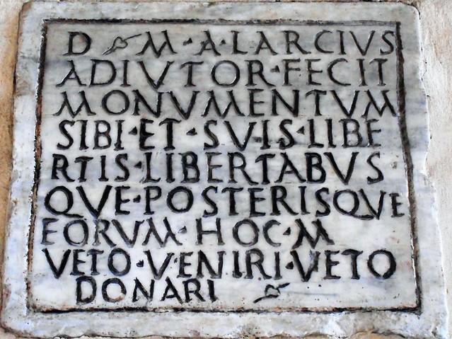 Roman inscription for sepulchral monument (2nd-3rd century AD) - Santa Maria in Trastevere Church in Rome