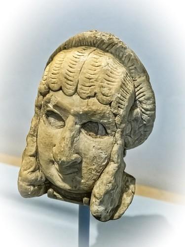 Female human head from an alabaster statue Khafaje, Iraq 2600-2350 BCE