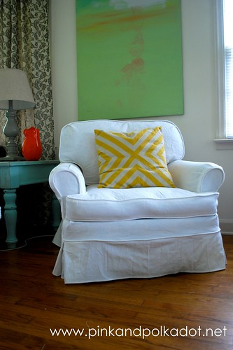 White club chair slipcover
