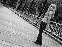 Jessica on the Bridge to Rose Island